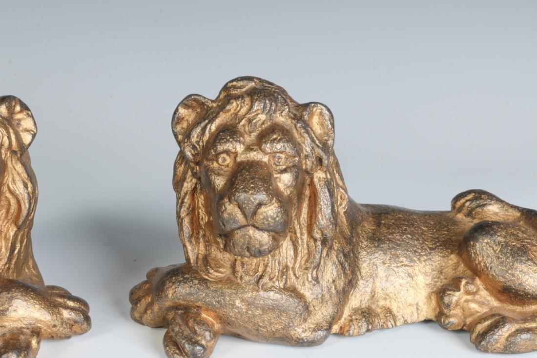 TWO CAST IRON LION FIGURES, OLD GILT PAINT - 2