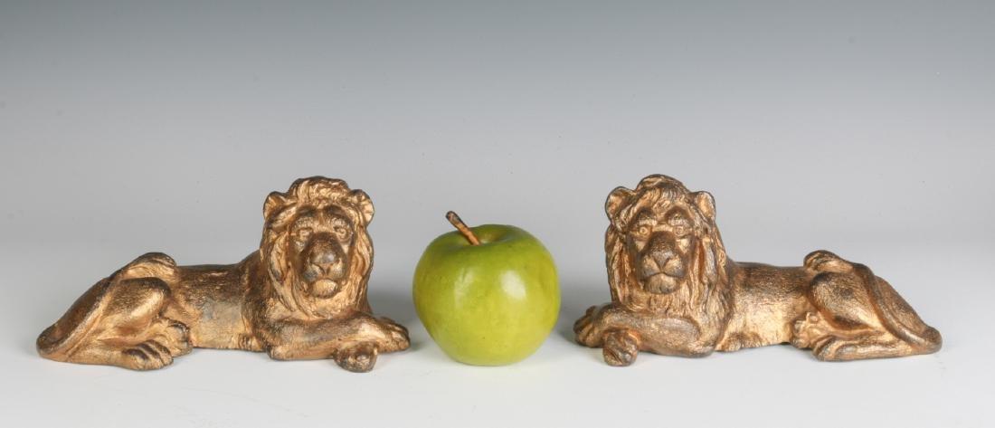 TWO CAST IRON LION FIGURES, OLD GILT PAINT - 3