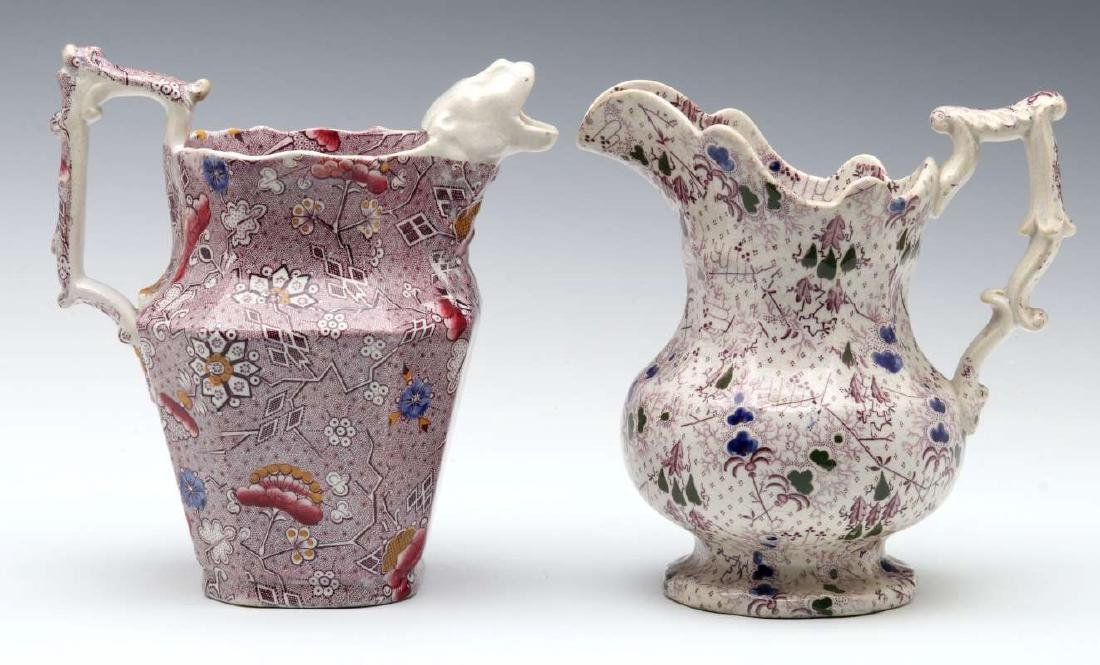 TWO UNUSUAL 19TH CENTURY TRANSFERWARE PITCHERS