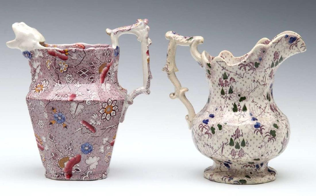 TWO UNUSUAL 19TH CENTURY TRANSFERWARE PITCHERS - 6