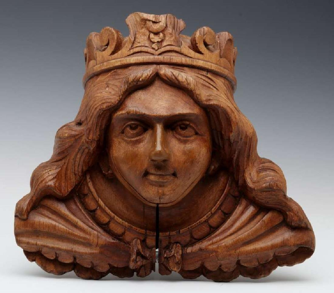 A CARVED WOOD CAROUSEL MASK OF OF BOUDICA, C 1900