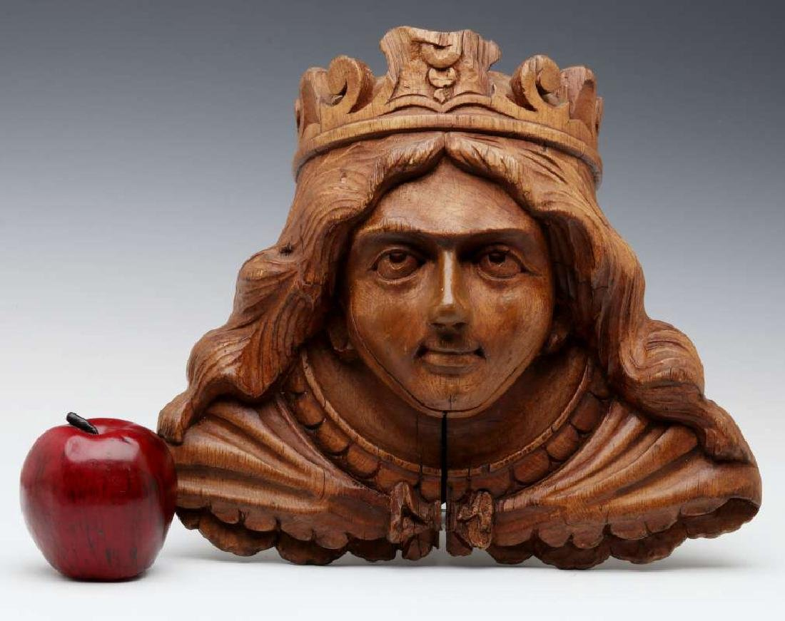 A CARVED WOOD CAROUSEL MASK OF OF BOUDICA, C 1900 - 2