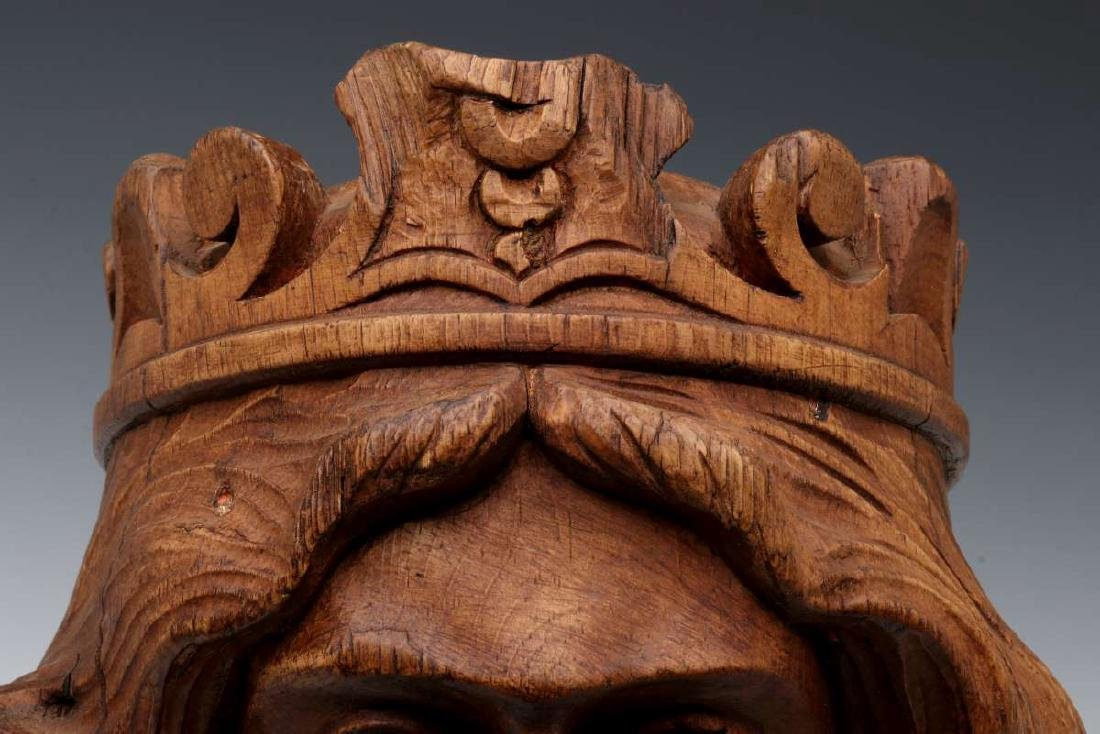 A CARVED WOOD CAROUSEL MASK OF OF BOUDICA, C 1900 - 3