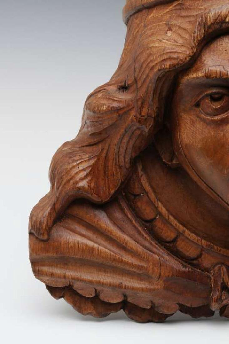 A CARVED WOOD CAROUSEL MASK OF OF BOUDICA, C 1900 - 4
