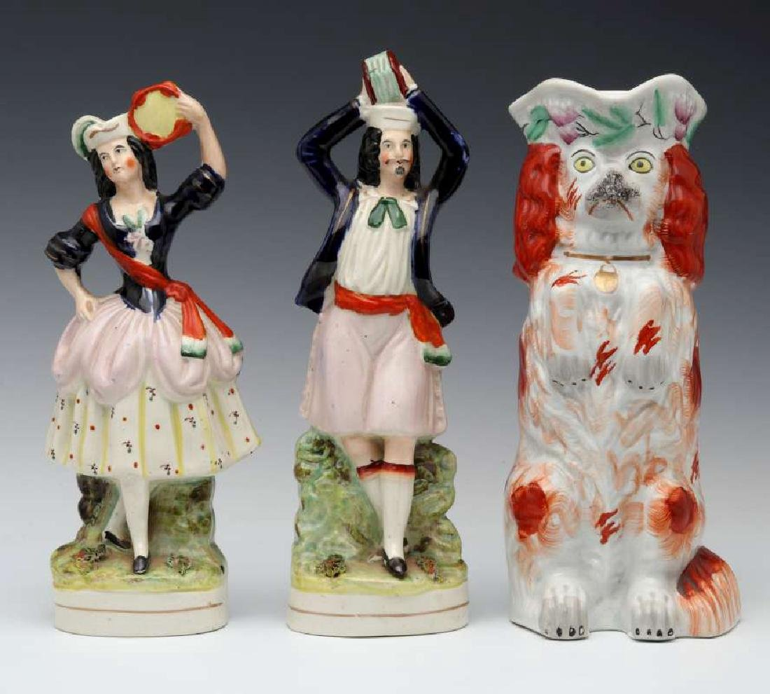 THREE 19TH C. STAFFORDSHIRE POTTERY OBJECTS