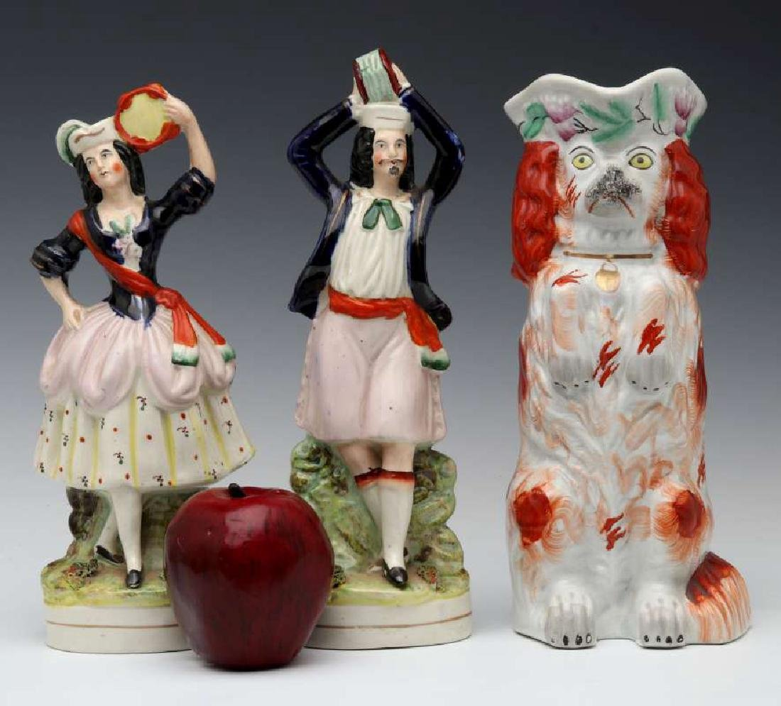 THREE 19TH C. STAFFORDSHIRE POTTERY OBJECTS - 2