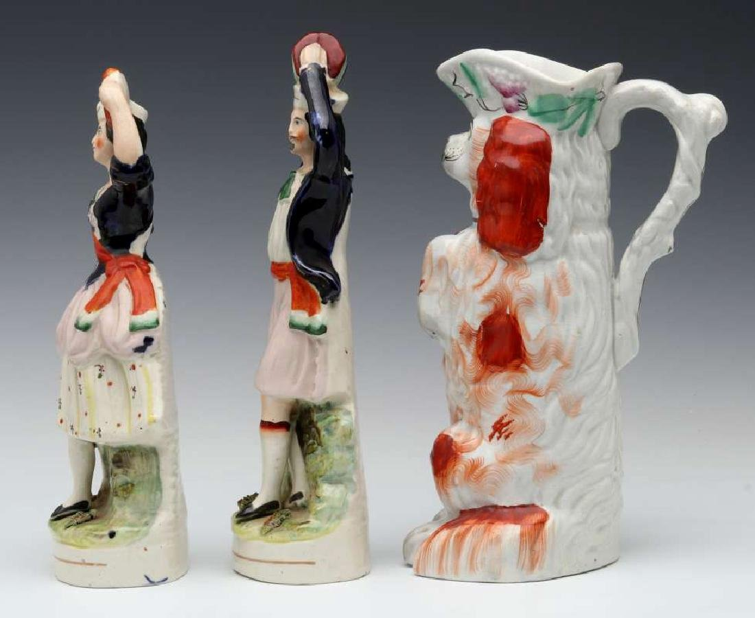 THREE 19TH C. STAFFORDSHIRE POTTERY OBJECTS - 7