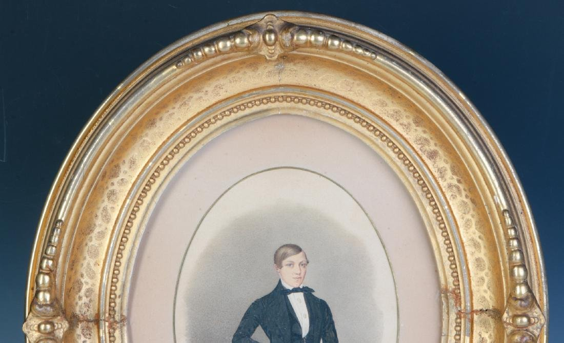 A 19TH CENTURY WATERCOLOR OF A YOUNG MAN - 2