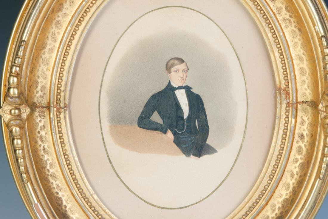 A 19TH CENTURY WATERCOLOR OF A YOUNG MAN - 4