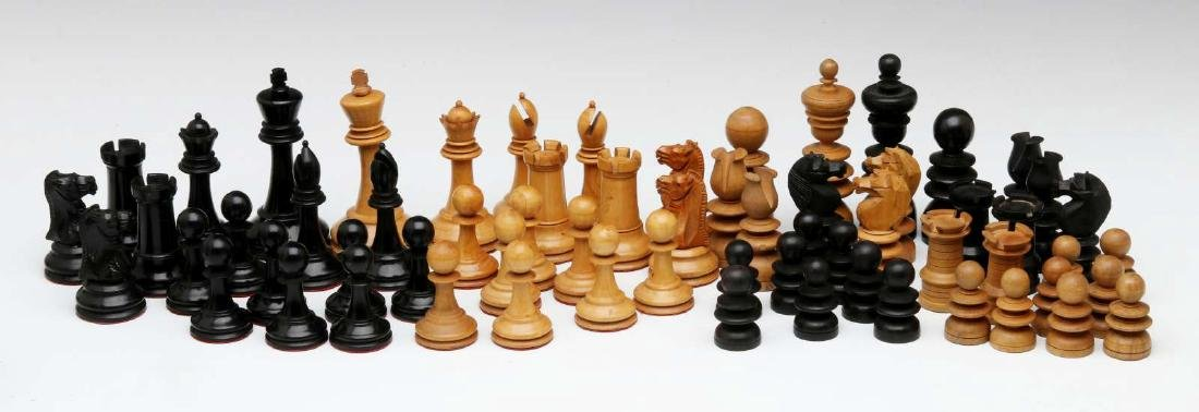 VINTAGE CARVED WOOD CHESS SETS, ONE STAUNTON TYPE