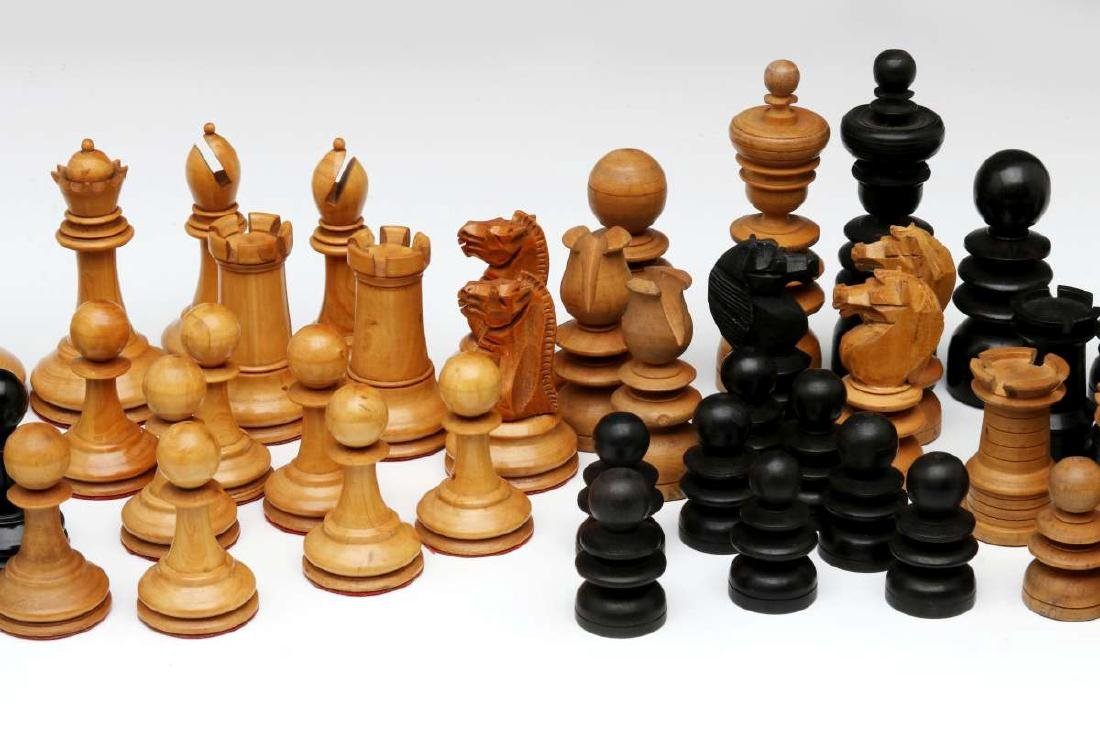 VINTAGE CARVED WOOD CHESS SETS, ONE STAUNTON TYPE - 3