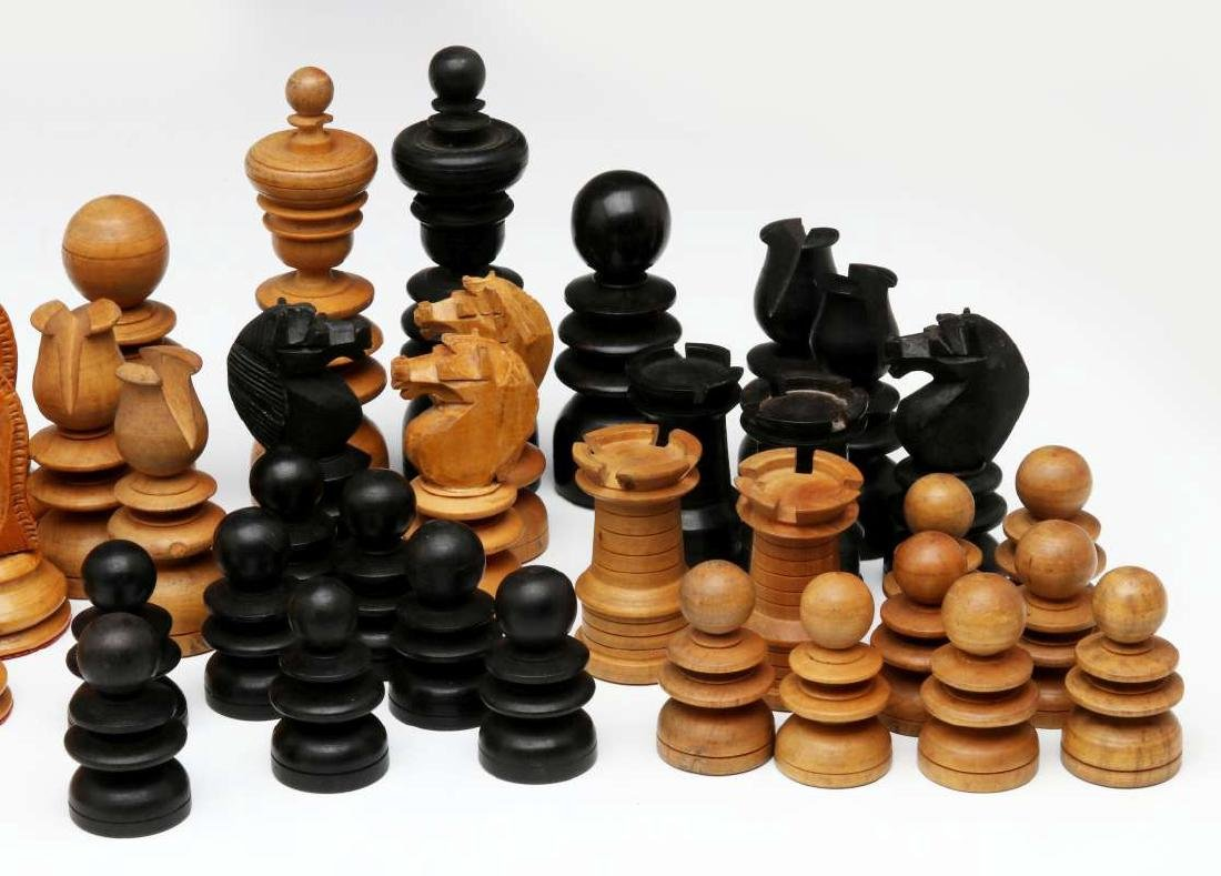 VINTAGE CARVED WOOD CHESS SETS, ONE STAUNTON TYPE - 4