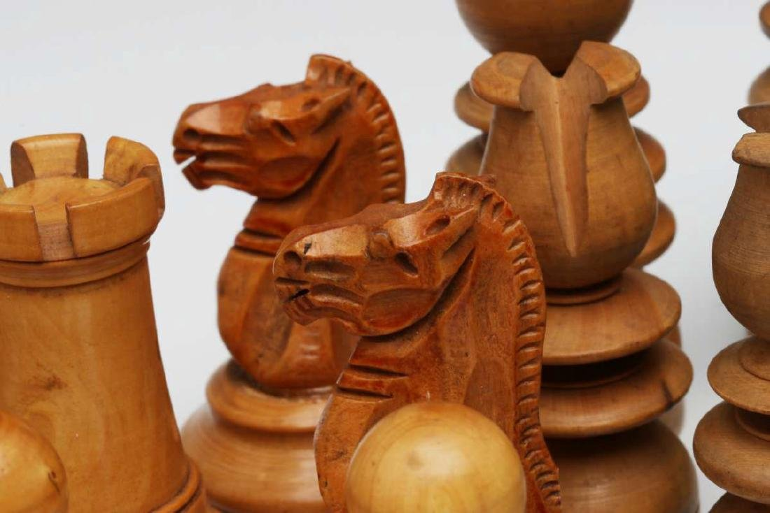 VINTAGE CARVED WOOD CHESS SETS, ONE STAUNTON TYPE - 5