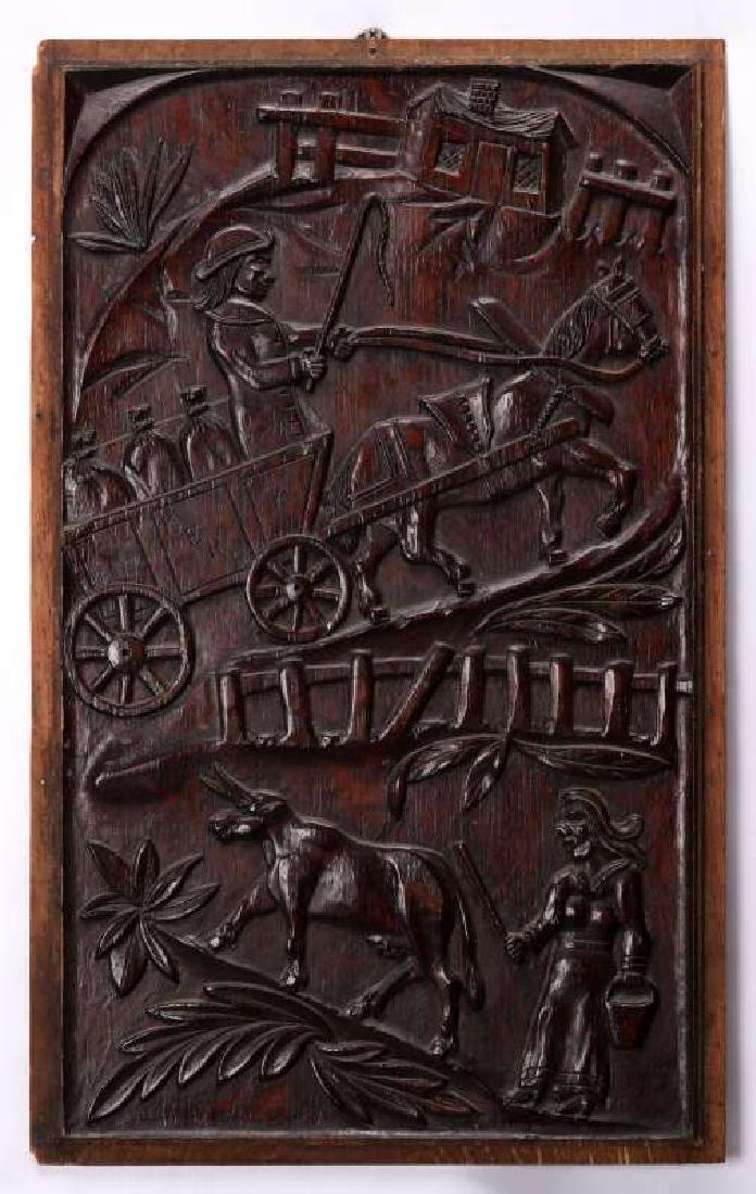 A PAIR IRISH 18TH CENTURY BAS RELIEF WOOD CARVINGS