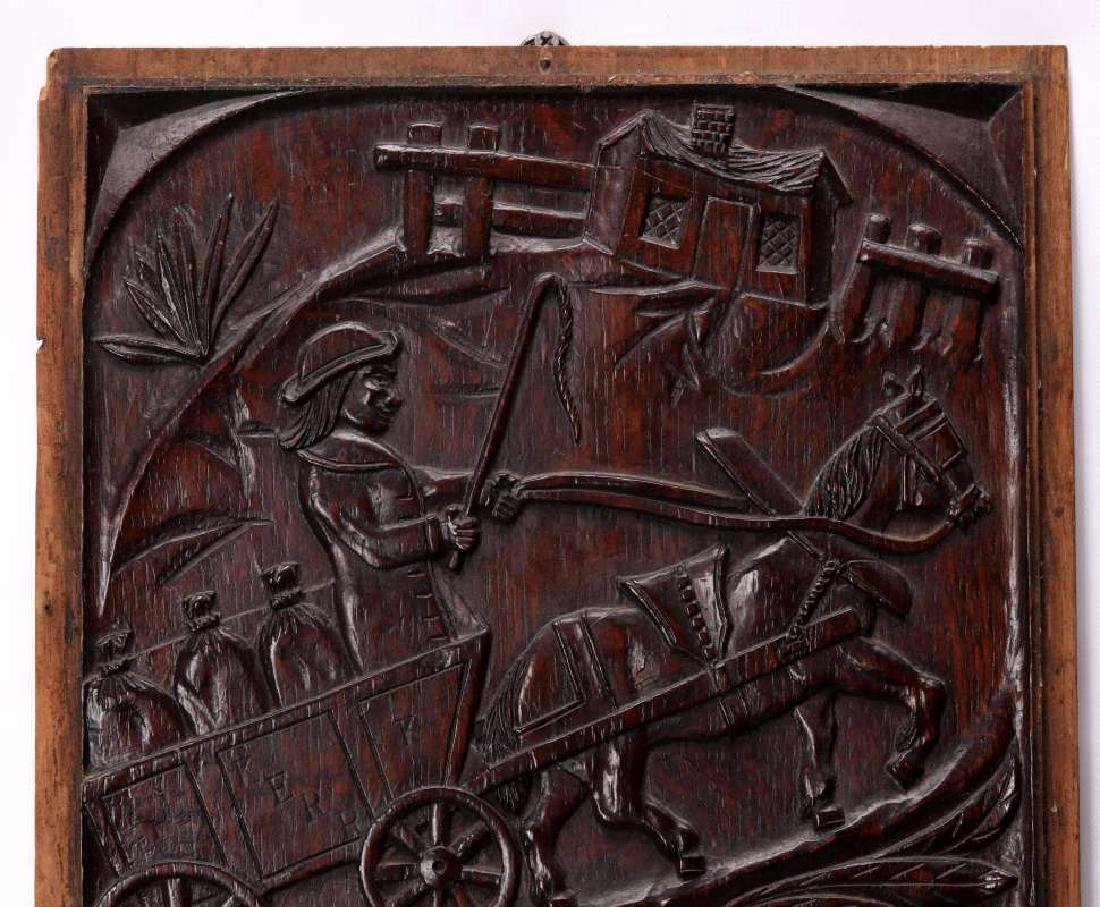 A PAIR IRISH 18TH CENTURY BAS RELIEF WOOD CARVINGS - 2