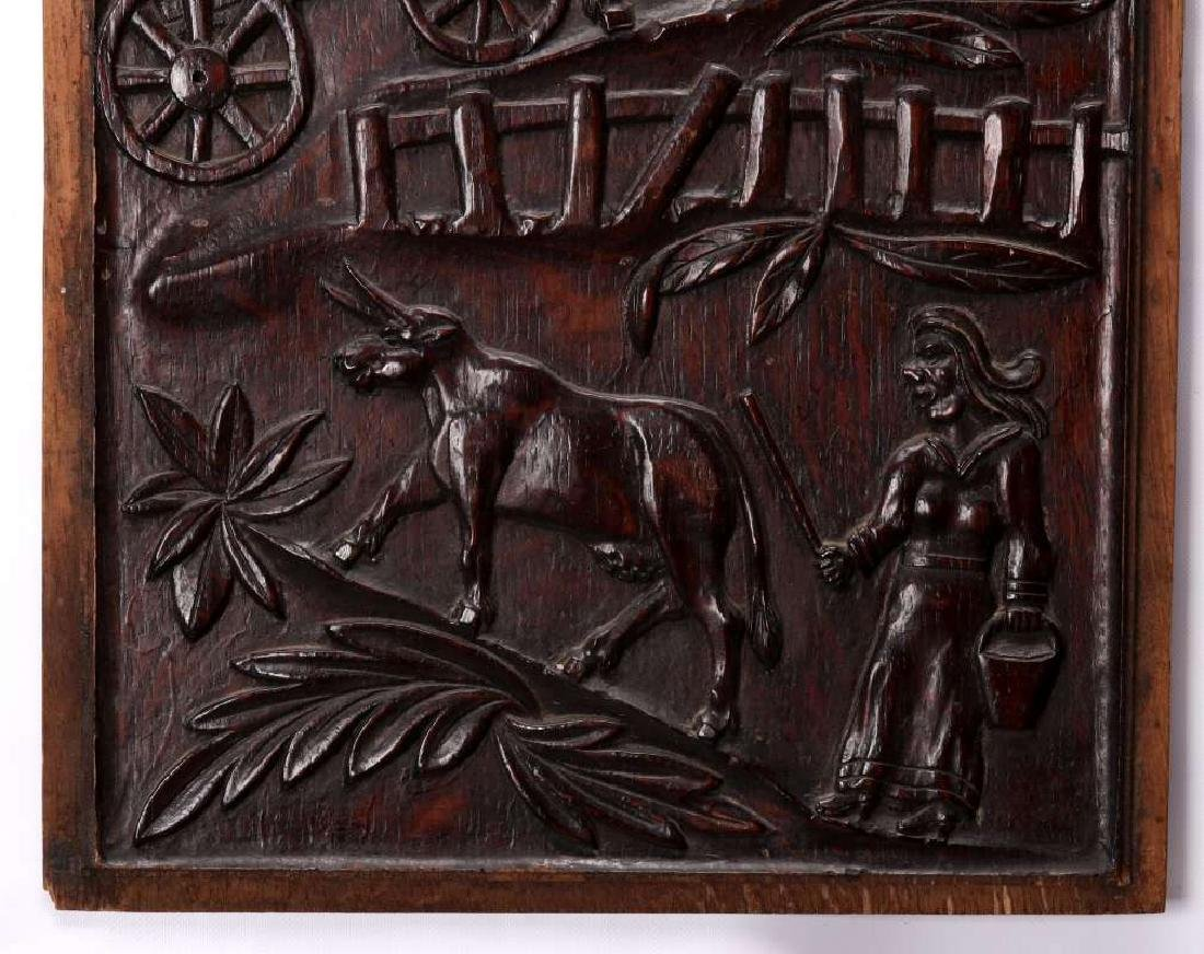 A PAIR IRISH 18TH CENTURY BAS RELIEF WOOD CARVINGS - 3