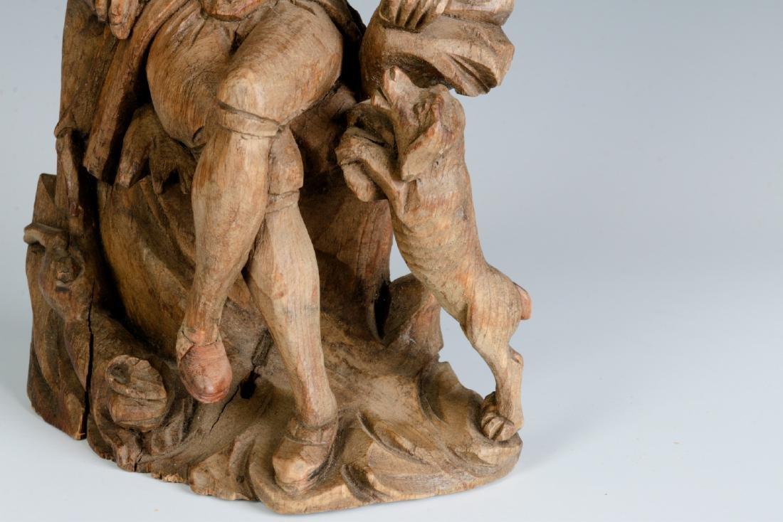 AN 18TH C. WOOD CARVING OF A GENTLEMAN AND HIS DOG - 3