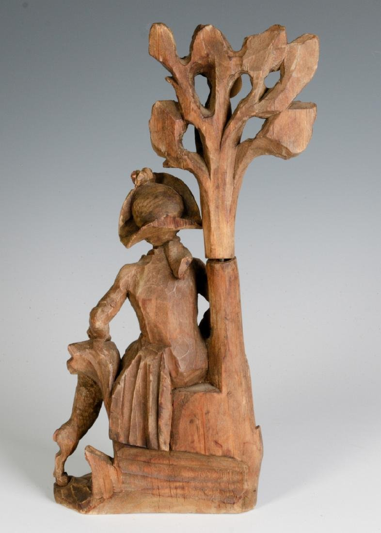 AN 18TH C. WOOD CARVING OF A GENTLEMAN AND HIS DOG - 4