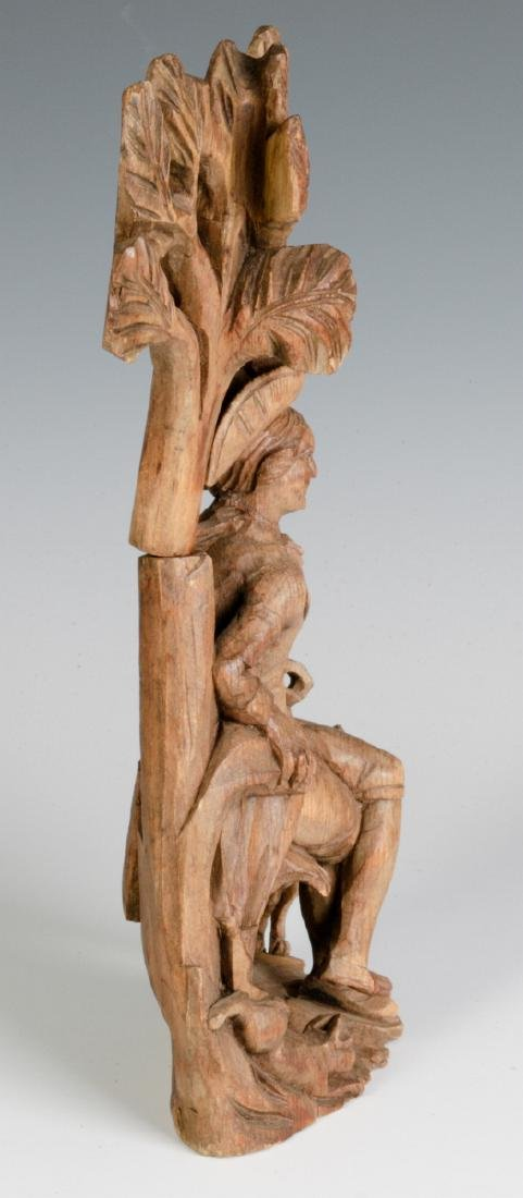 AN 18TH C. WOOD CARVING OF A GENTLEMAN AND HIS DOG - 5