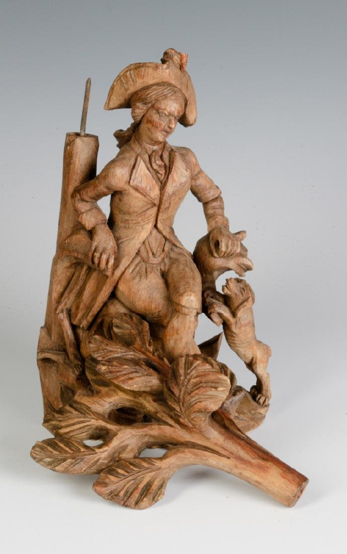 AN 18TH C. WOOD CARVING OF A GENTLEMAN AND HIS DOG - 7