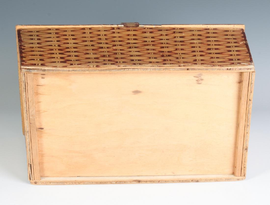 A UNIQUE FAUX PAINTED WOOD PICNIC BASKET C. 1930s - 10
