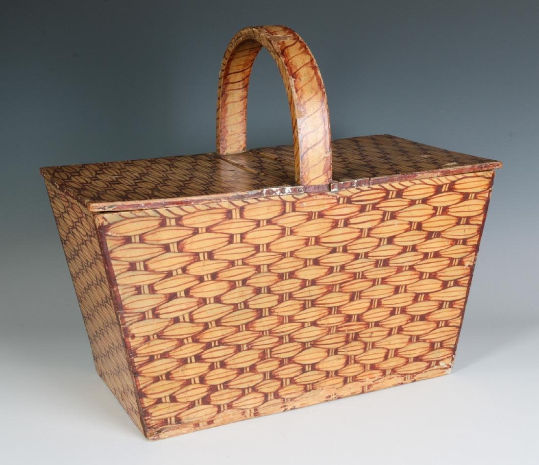 A UNIQUE FAUX PAINTED WOOD PICNIC BASKET C. 1930s