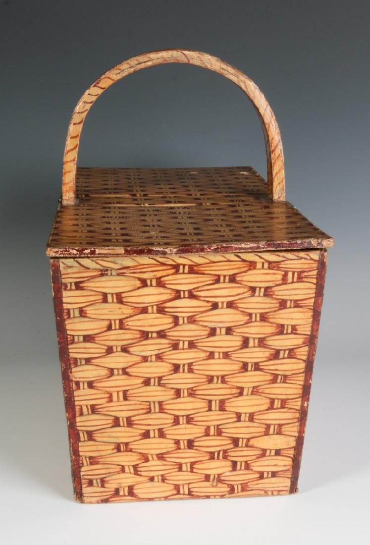 A UNIQUE FAUX PAINTED WOOD PICNIC BASKET C. 1930s - 4