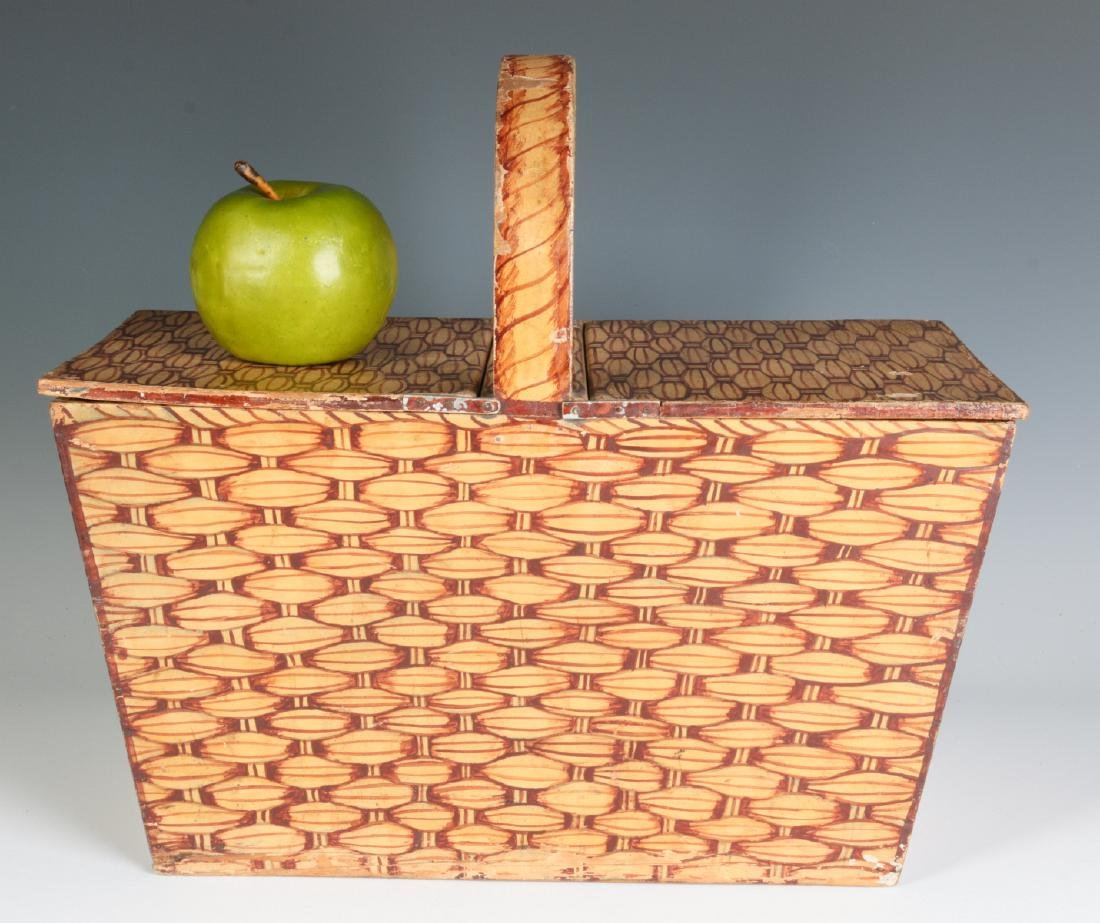 A UNIQUE FAUX PAINTED WOOD PICNIC BASKET C. 1930s - 7