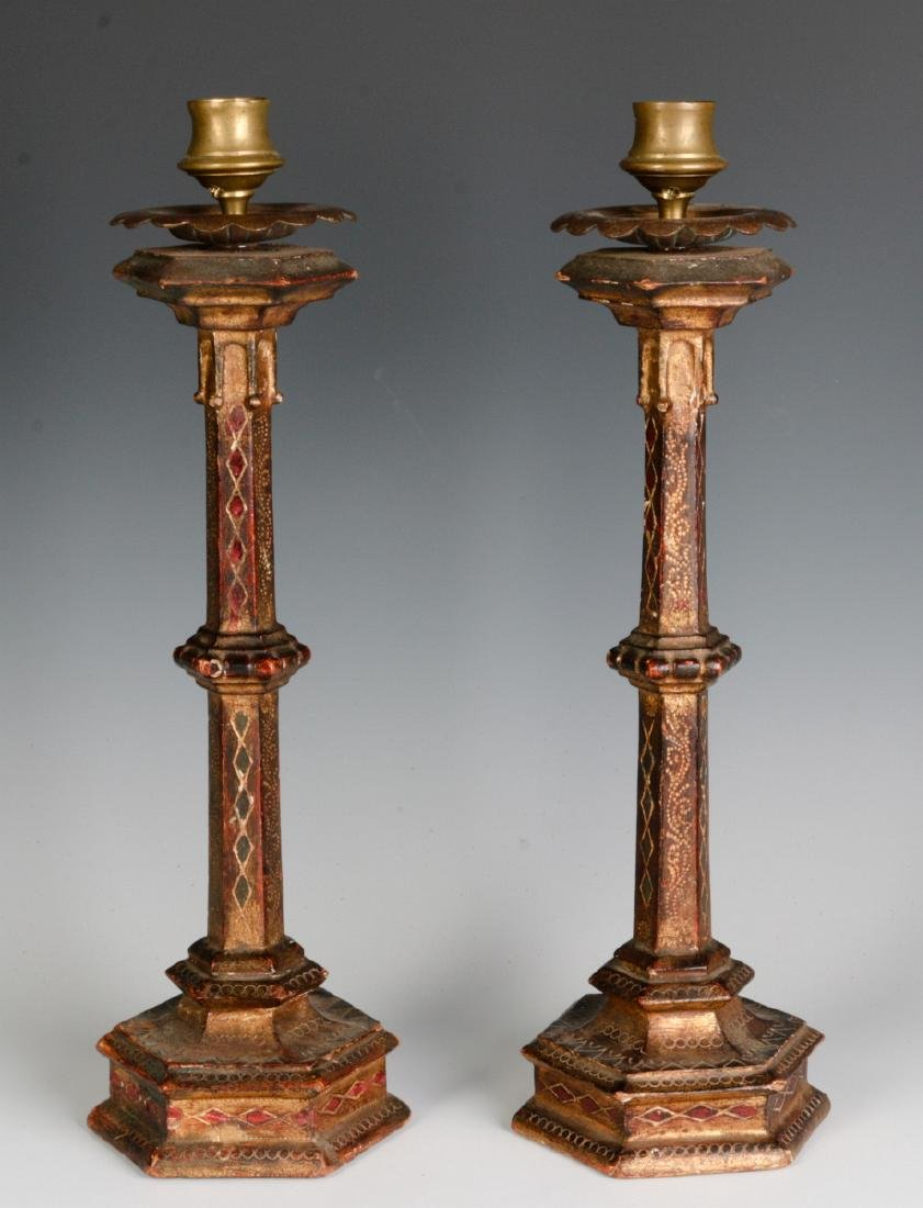 A PAIR EARLY 20THC ITALIAN FLORENTINE CANDLESTICKS