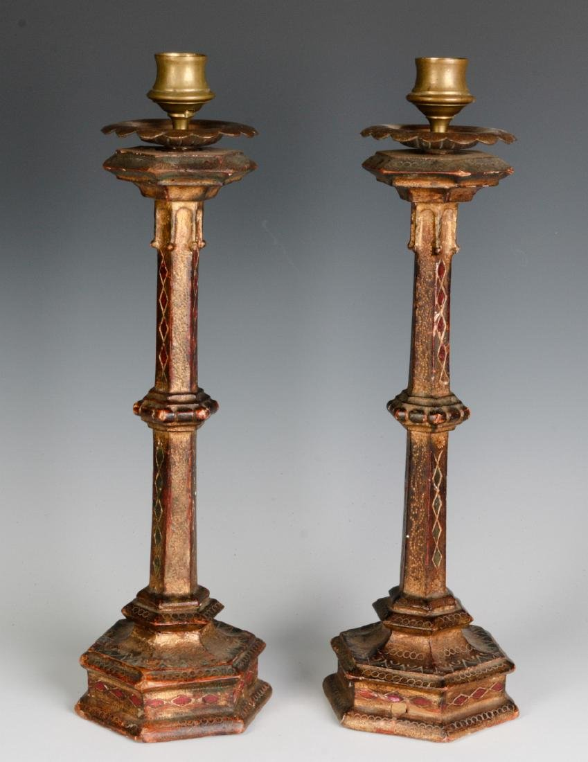 A PAIR EARLY 20THC ITALIAN FLORENTINE CANDLESTICKS - 2