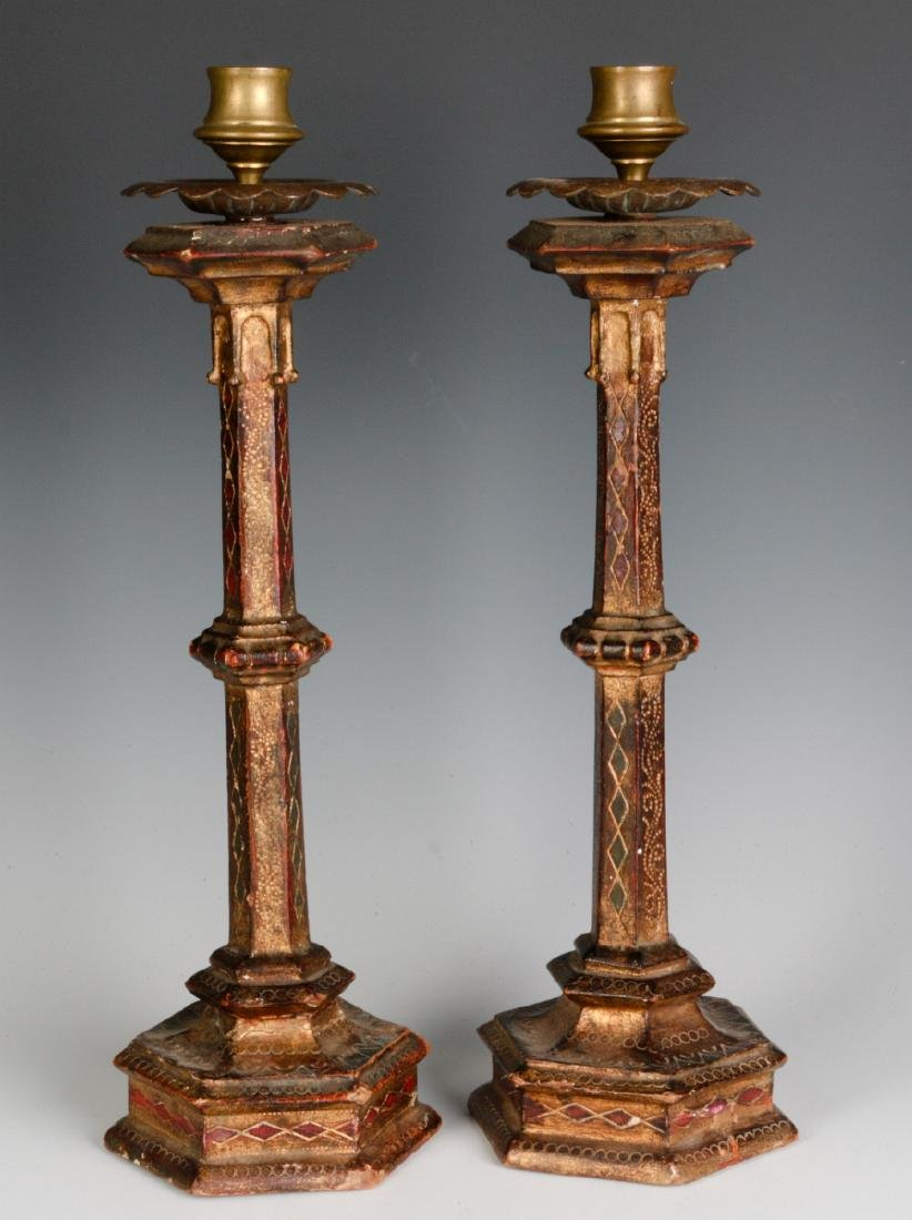 A PAIR EARLY 20THC ITALIAN FLORENTINE CANDLESTICKS - 5