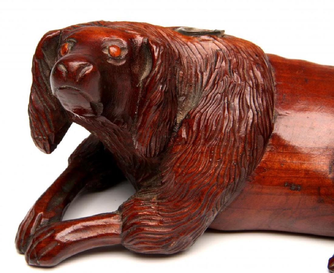 A LATE 19TH CENTURY CARVED WOOD DOG INKWELL - 3