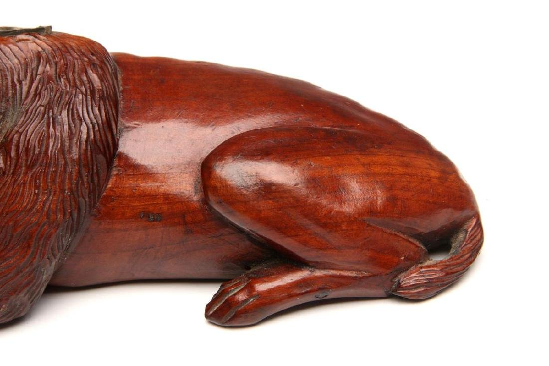 A LATE 19TH CENTURY CARVED WOOD DOG INKWELL - 4
