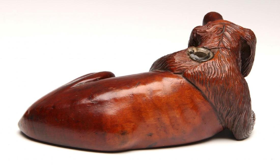 A LATE 19TH CENTURY CARVED WOOD DOG INKWELL - 5