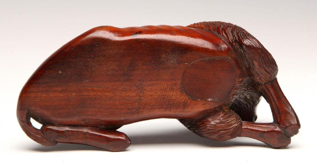 A LATE 19TH CENTURY CARVED WOOD DOG INKWELL - 7