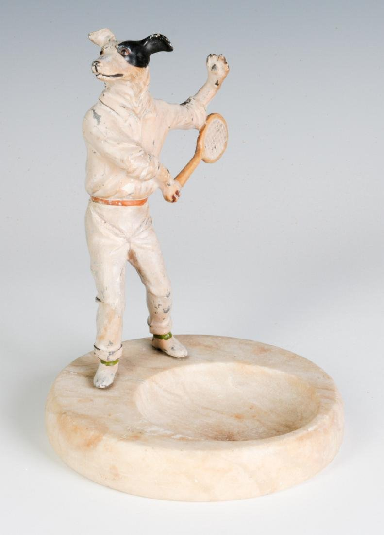 COLD PAINTED FIGURE OF TENNIS PLAYING DOG, C. 1920