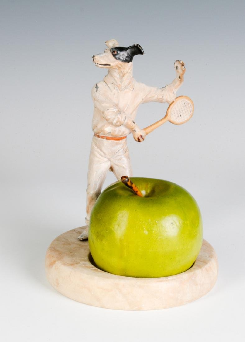 COLD PAINTED FIGURE OF TENNIS PLAYING DOG, C. 1920 - 6