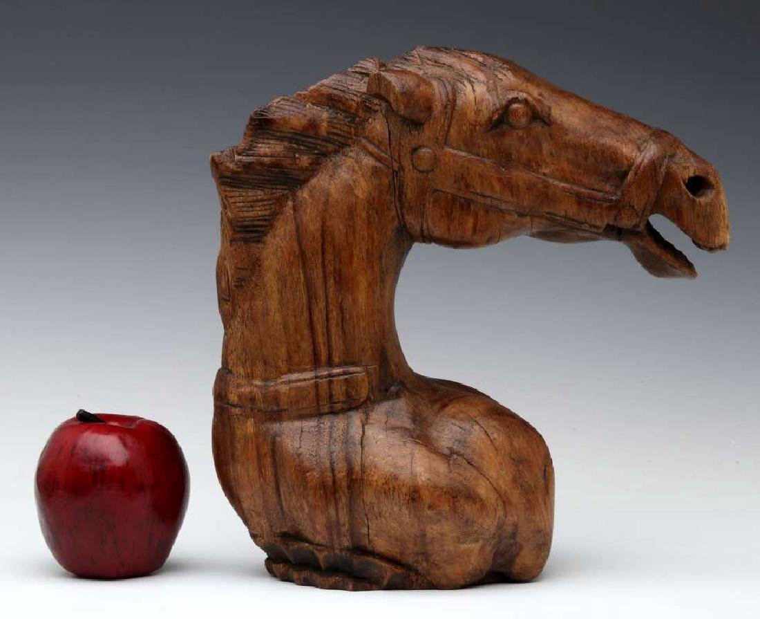 AN ANTIQUE HORSE HEAD WOOD CARVING - 2