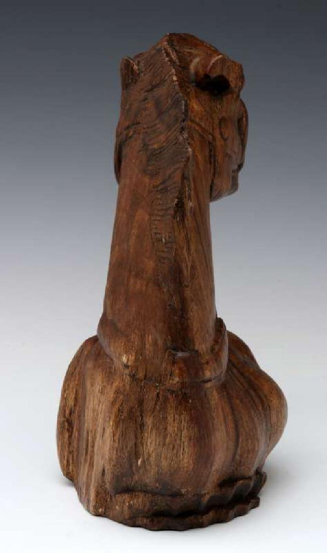 AN ANTIQUE HORSE HEAD WOOD CARVING - 5