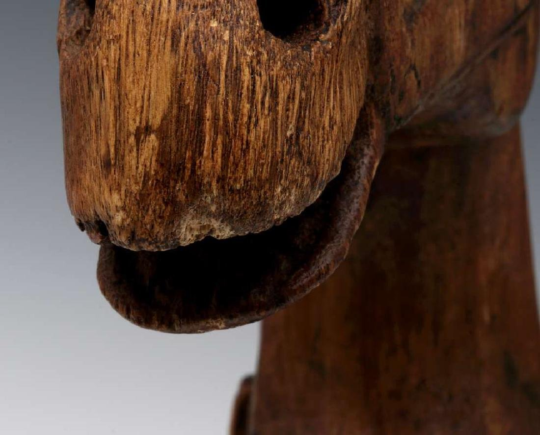 AN ANTIQUE HORSE HEAD WOOD CARVING - 8