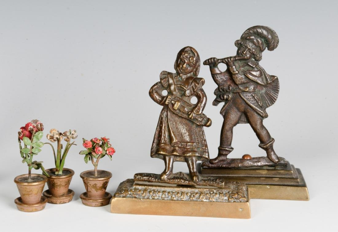 A GROUP OF SMALL EARLY 20THC. CAST BRONZE OBJECTS - 2