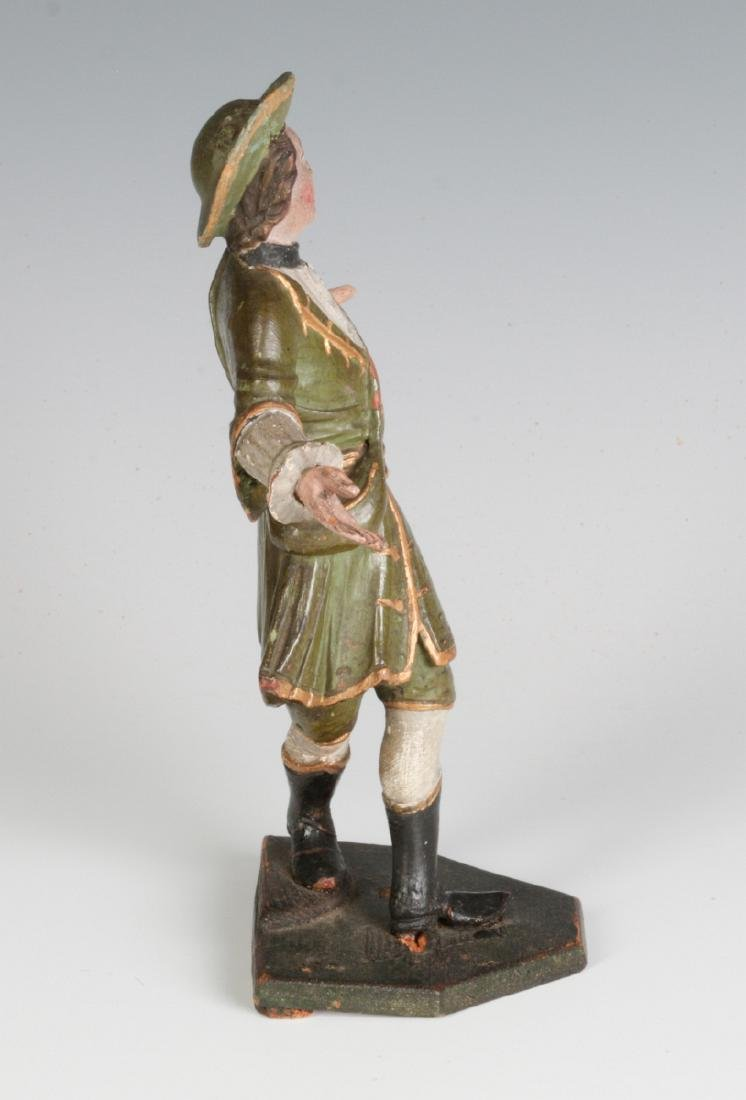 A 19TH C. CONTINENTAL CARVED AND PAINTED FIGURE - 3