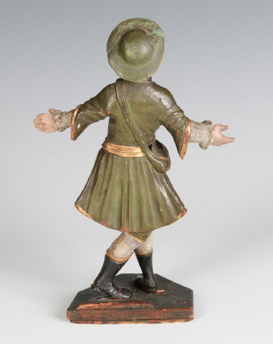 A 19TH C. CONTINENTAL CARVED AND PAINTED FIGURE - 4