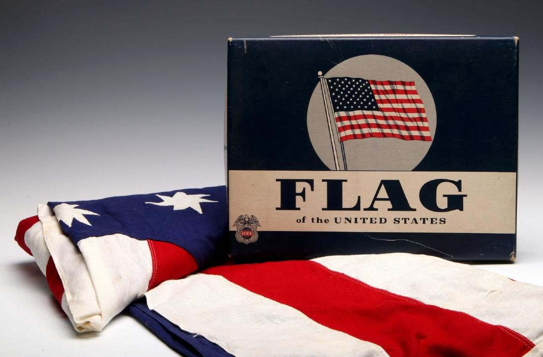 AN AMERICAN BICENTENNIAL FLAG IN BOX