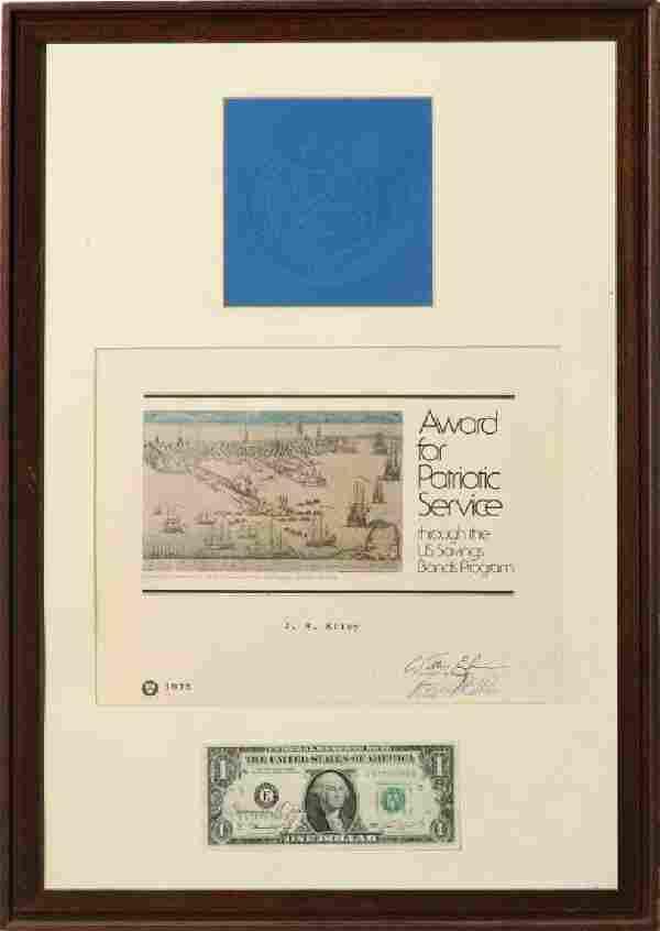 FRANCINE IRVING NEFF (1925-2010) SIGNED $1 BILL