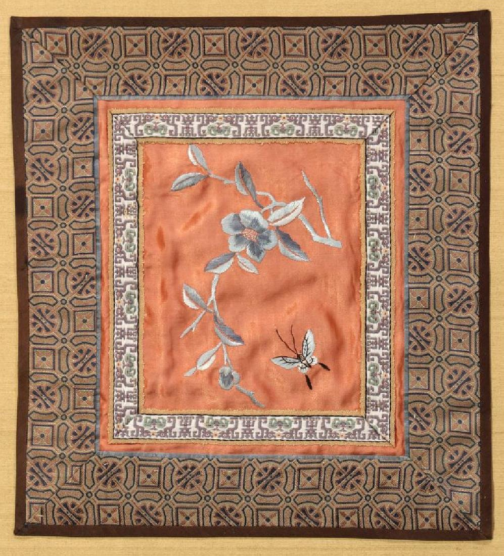 FOUR SILK EMBROIDERY PANELS