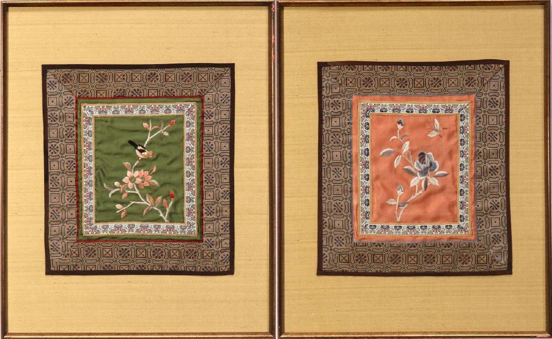 FOUR SILK EMBROIDERY PANELS - 8