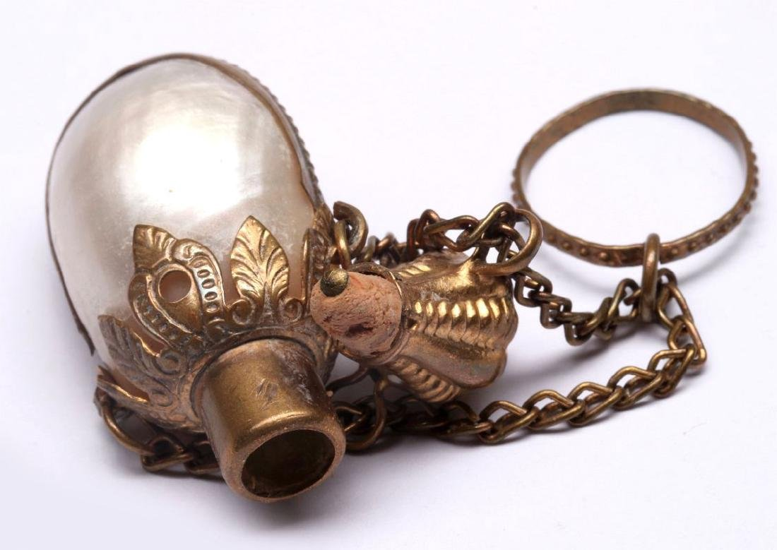 A VICTORIAN MOTHER-OF-PEARL CHATELAINE PERFUME - 6