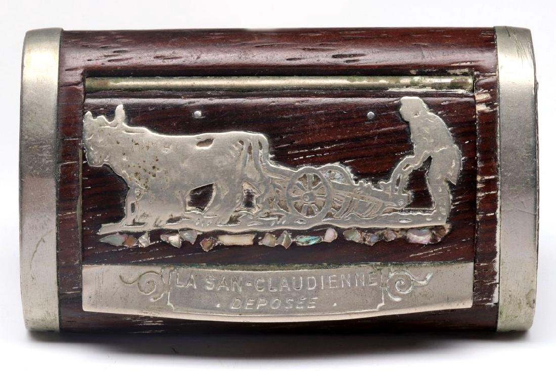 AN ANTIQUE FRENCH WALNUT SNUFF BOX WITH OVERLAY