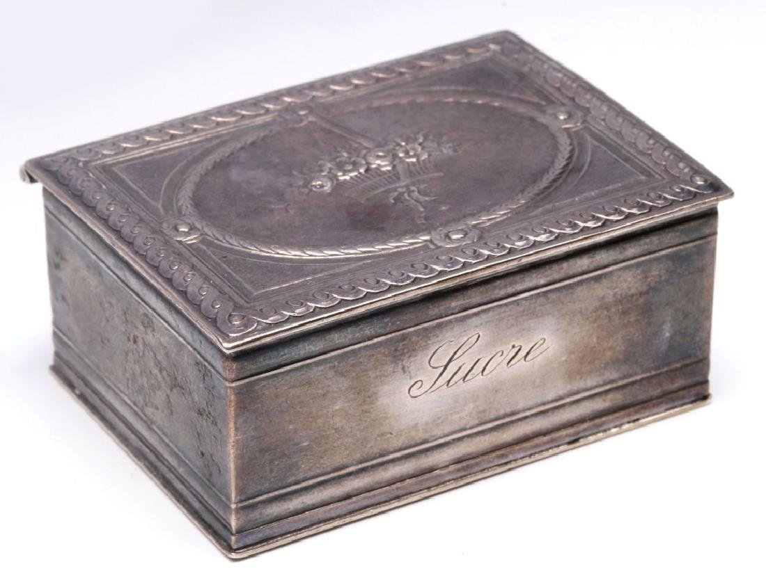 A 19THC. FRENCH ENGRAVED STERLING SILVER PATCH BOX